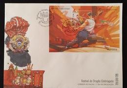 MAC1333-Macau FDCB With Block Of 1 Stamp - Drunken Dragon Festival - Macau - 1997 - Macau