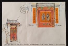MAC1334-Macau FDCB With Block Of 1 Stamp - Legends And Myths IV - Gods Of The Door - Macau - 1997 - Macau