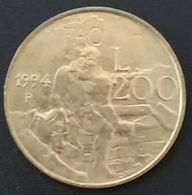 SAINT MARIN - SAN MARINO - 200 LIRE 1994 - Sculpteur - KM 313 - Saint-Marin