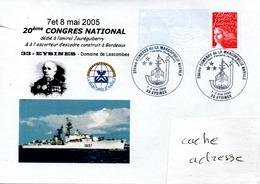 Escorteur D'Escadre JAURREGUIBERRY 20éme Congrès De La Marcophilie Navale Obl. Temporaire Eysines 07-08/05/05 - Poste Navale