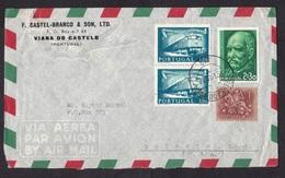Portugal: Airmail Cover To USA, 1956, 4 Stamps, Train, Transport, Da Silva, Knight, History (minor Damage) - 1910-... Republik