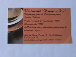 Carte De Visite Restaurant Pourquoi Pas Braives - Cartes De Visite