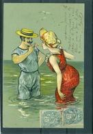 Relief - Gaufrée - Embossed - Prage - Baigneurs - TBE Précurseur - Fancy Cards
