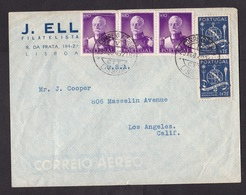 Portugal: Airmail Cover To USA, 1949, 5 Stamps, President Carmona, History (2 Left Stamps Damaged) - 1910-... République