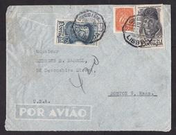 Portugal: Airmail Cover To USA, 1945, 3 Stamps, Explorer, Navigation, History, Sailing Ship (damaged; Discolouring) - 1910-... Republik