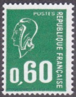 France Marianne De Béquet N° 1814 A ** Variété Le 60c Vert Typographie Sans Phosphore - 1971-76 Marianne De Béquet
