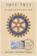 Carte Maximum  1er  Jour   FRANCE   Cinquantenaire  Du  ROTARY   INTERNATIONAL   1955 - 1950-59