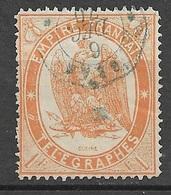 France   Télégraphes  N° 7     Oblitéré Le  16/12/1870 à Oran  Cachet Octogonal   RRR   Soldé à Moins De 15 %  ! ! ! - Télégraphes Et Téléphones