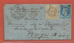 FRANCE BALLON MONTE GIRONDE DU 07/11/1870 DE PARIS POUR BRUGES BELGIQUE - 1870 Besetzung Von Paris