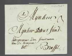Lac écrite De Nieuport 2/9/1774 Par Griffe En Creux Nieuport => Brussel ( Entrepreneur Der Fourniteuren Voor De Troupen - 1714-1794 (Oesterreichische Niederlande)