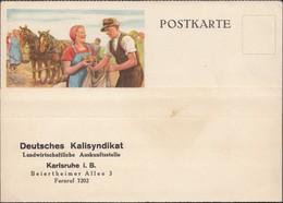 Germany - Werbepostkarte, 'Deutsche Kalisyndikat', Landwirtschaftliche Auskunfstelle. KARLSRUHE (1927-1930's). - Allemagne