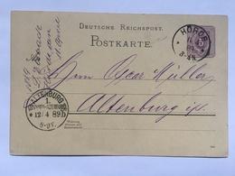 GERMANY 1889 Postkarte P12 - Horde To Altenburg - Briefe U. Dokumente