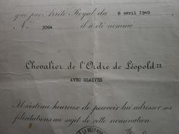 Ancienne Décoration 1940 MINISTERE DE LA DEFENSE NATIONALE Nomination Chevalier De L'ordre De Leopold II Avec Glaives - Old Paper