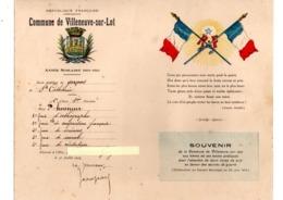 47 - VILLENEUVE-SUR-LOT . ANNÉE SCOLAIRE 1914/1915 . École Publique De Garçons De Sainte-Catherine - Réf. N°101P - - Diploma & School Reports