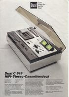(AD387) Original Werbung Und Bedienungsanleitung DUAL C919 Kassettendeck, 1976 - Shop-Manuals