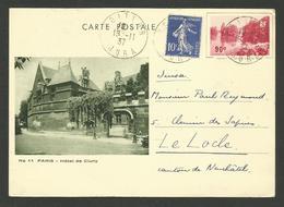 """Entier 90c """" Hotel De Cluny - Le Grand Lac Du Bois / VOITEUR - JURA 18.11.1937 >>> LE LOCLE - SUISSE - Poststempel (Briefe)"""