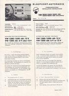 (AD390) Original Einbauanleitungen Von BLAUPUNKT Für VW 1200/1300/1500 Von 1966 - 1968 - Shop-Manuals