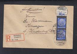 Dt. Reich Eckrandpaar 1935 Auf Brief Hindenburg Pommern 1935 - Germany