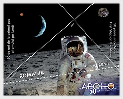 Romania Rumänien Delivery Within 4 Weeks MNH ** Ru 2019 - 36 50 Years Since Man's First Step On The Moon Block - Neufs