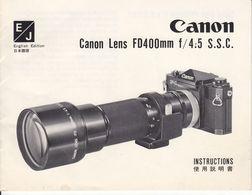 (AD396) Original Bedienungsanleitung CANON Objektiv Canon Lens FD400mm F/4:5 S.S.C. - Herstelhandleidingen