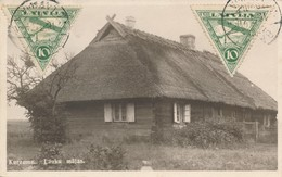 CPSM Lettonie Latvija 1934 Kurzeme Lauku Majas Circulée Allemagne Deutschland Timbres Tampons - Lettonie