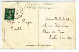 Périgueux La Nuit, Place Bugeaud Avec Oblitération Cachet Convoyeur De Périgueux à Bordeaux - Poste Ferroviaire