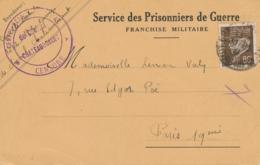 """CENTRE DE SEJOUR SURVEILLÉ De CHOISEL CHÂTEAUBRIANT / CENSURE  """"  CP 20/11/41 INTERNÉS CIVILS CAMP CONCENTRATION - Poststempel (Briefe)"""
