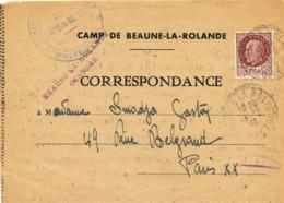"""RR  """" BEAUNE LA ROLANDE / CENSURE """" Cachet  Préfecture Lettre à EN-TÊTE DU CAMP  LOIRET  11/5/43 Formule CORRESPONDANCE - Postmark Collection (Covers)"""