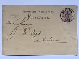 GERMANY 1881 Postcard P5 Stettin Postmark - Allemagne