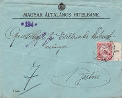 Ungarn Brief Perfins Firmenlochung  Magyar Altalanos Hitelbank 1920 Mit Zensur - Ungarn