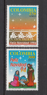 1994 Colombia Christmas Noel Navidad Complete Set Of 2  MNH - Colombie