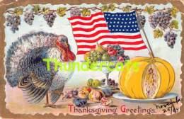 CPA  EN RELIEF GAUFREE DINDE EMBOSSED CARD THANKSGIVING TURKEY ( PLI D'ANGLE - CORNER CREASE ) - Thanksgiving