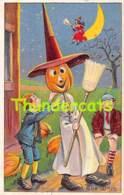 CPA EN RELIEF GAUFREE  HALLOWEEN CITROUILLE  EMBOSSED CARD PUMPKIN JACK O LANTERN - Halloween