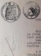 Acte Ancien Du 11 Janvier 1954 à NERAC - Timbre REPUBLIQUE FRANCAISE à 240F & à 120F - Cachets Généralité