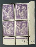Bloc 4 TIMBRES NEUFS TYPE IRIS 1,2 FR DATÉ 28/9/1944 - 1940-1949