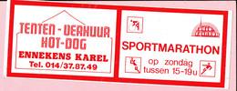 Sticker - Tenten-Verhuur - HOT DOG - Ennekens Karel Dessel - Radio Rainbow - Sportmarathon - Aufkleber