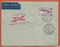 FRANCE LETTRE PREMIER VOL DE 1935 DE PARIS POUR ROME ITALIE - Covers & Documents