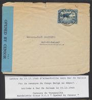 Congo Belge - N°278A (touché) Sur Lettre Expédié De Albertville (1940) > Dar Es Salaam + Censure Du Tanganyika - Belgisch-Kongo