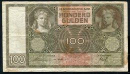 Netherlands  - 100 Gulden 1930 I 'Luitspelende Vrouw' / BR / 1938 - See The 2 Scans For Condition.(Originalscan ) - [1] …-1815 : Ante Regno