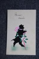 BONNE ANNEE , Carte Peinte, Chat Noir Avec Ruban Rose. - Nouvel An