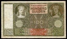 Netherlands  - 100 Gulden 1930 I 'Luitspelende Vrouw' / BD 1941  - See The 2 Scans For Condition.(Originalscan ) - [1] …-1815 : Ante Regno