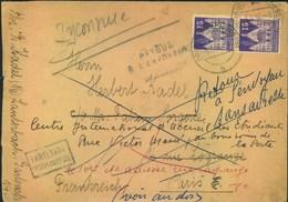 1952, Auslandsbrief Mit 15 Pfg. Blauviolett Ab (16) LAUTERBACH Nach Paris Mit Vielen Vermerken - Zone Anglo-Américaine
