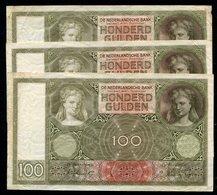 Netherlands  - 3 X 100 Gulden 1930 I 'Luitspelende Vrouw' / Op Nummers  - See The 2 Scans For Condition.(Originalscan ) - [1] …-1815 : Ante Regno
