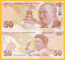 Turkey 50 Lira P-225c 2009 (2017) UNC Banknote - Turquie