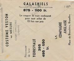 Enveloppe CCP 1932 - Pub Compagnie Anglaise Textile, Costume, - Advertising