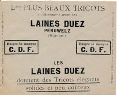 Enveloppe CCP 1934 – Pub Laines Duez, Tricots élégants, Solides Et Peu Coûteux - Publicidad