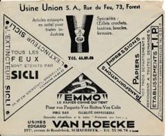 Enveloppe CCP 1933 – Pub Tirettes, Papier Emballage, Extincteurs - Advertising