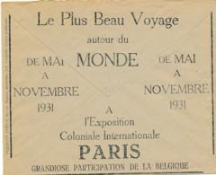 Enveloppe CCP 1931 – Pub Exposition Coloniale Internationale Paris – Participation De La Belgique - Werbung