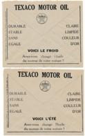 2 Enveloppes CCP 1932 – Pub Texaco Motor Oil, Huile Pour Hiver Et été - Advertising