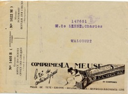 Enveloppe CCP 193 ? – Pub Comprimées La Meuse, Maux De Tête, Grippe, Rhuma – Verso Timbres Antituberculeux Voir Découpe - Advertising